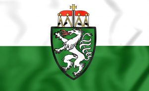 3D Flag of Styria Bundesland, Austria. Close Up.